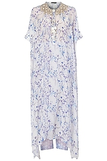Lavender Printed and Embroidered Kaftan with Pants