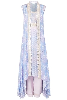 Lavender Asymmetrical Embroidered Tunic with Overlay Cape Set