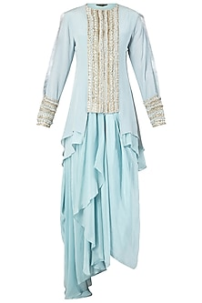 Blue Embroidered Kurta with Dhoti Skirt