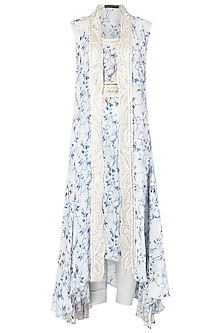 Blue and White Asymmetrical Embroidered Tunic with Overlay Cape Set