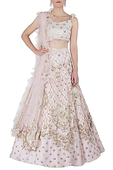 Blush Pink Sequin, Salli Embellished Bridal Lehenga Set by Riddhi Majithia