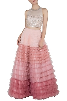 Pink Ombre Frill Skirt with Crop Top by Riddhi Majithia
