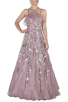 Mauve Embellished Gown by Riddhi Majithia