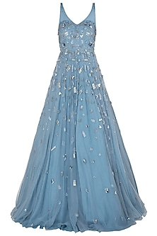 Blue Geometric Embroidered Gown