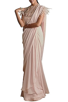 Pale Pink Hand Embroidered Pre-Stitched Saree Set by Ridhi Mehra