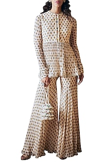 Ivory Printed Sharara Set With Attached Belt by Ridhi Mehra