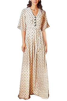 Ivory Buta Printed Jumpsuit by Ridhi Mehra