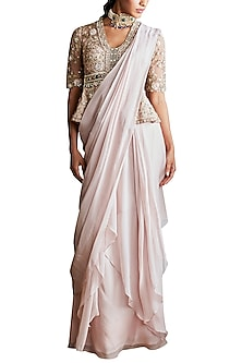 Pale Pink Embroidered Pre-Stitched Saree Set by Ridhi Mehra