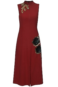 Red Sequins Embellished Rose Motifs Dress