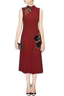 Red Sequins Embellished Rose Motifs Dress by Ridhi mehra