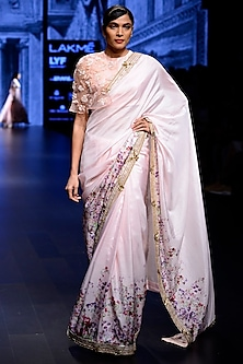 Light Pink Saree with Embroidered Cape Blouse