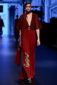 Maroon Jumpsuit with Dupatta