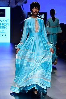 Aqua Feather Cuff Printed Anarkali by Ridhi Mehra