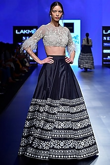 Ivory Embroidered Blouse with Black Lehenga