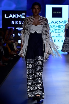 Black Embroidered Jacket with Bustier and Printed Palazzo Pants Set by Ridhi Mehra