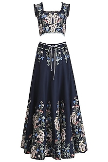 Blue Thread Embroidered Crop Top and Skirt Set