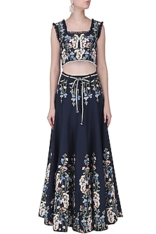 Blue Thread Embroidered Crop Top and Skirt Set by Ruhmahsa
