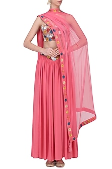 Pink Embroidered Lehenga Set by Ruhmahsa