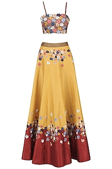 Mustard and Red Embroidered Lehenga Set by Ruhmahsa