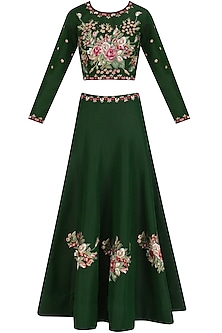 Green Floral Embroidered Lehenga and Blouse Set