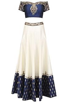 White and blue embroidered lehenga set by Ruhmahsa