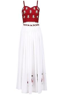 White and maroon embroidered lehenga set