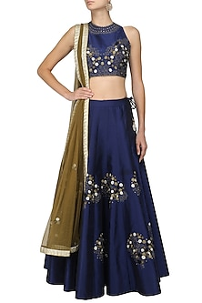Blue and Copper Floral Embroidered Lehenga Set by Ruhmahsa