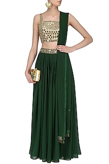 Gold Mirror Work Blouse and Bottle Green Lehenga Set by Ruhmahsa