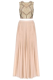 Peach Sequins Embroidered Crop Top with Palazzo Pants