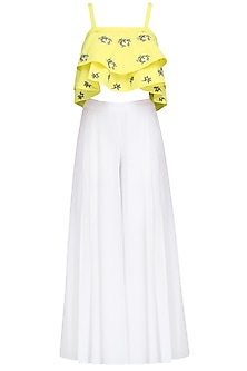 Yellow Floral Motifs Crop Top and White Palazzo Pants Set