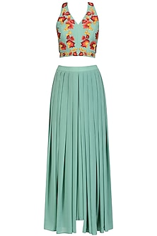 Green Floral Embroidered Crop Top and Palazzo Pants Set