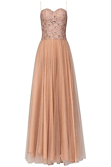 Peach Embellished Shimmer Gown