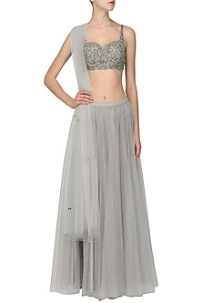Grey Embroidered Lehenga Set by Ruhmahsa