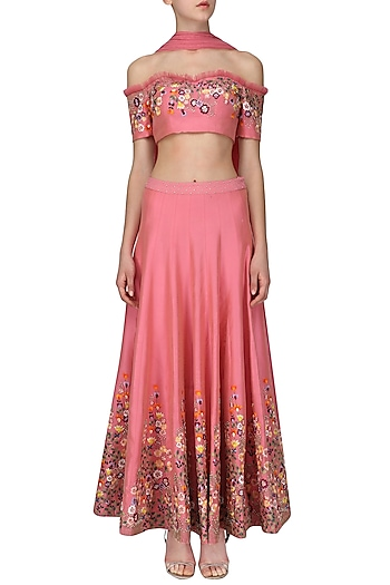 Pink Floral Embroidered Lehenga Set by Ruhmahsa