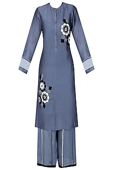 Grey, White and Black Floral Embroidered Kurta and Palazzos Set by Ruhmahsa