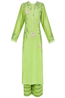 Green and White Motifs Kurta and Palazzos Set by Ruhmahsa