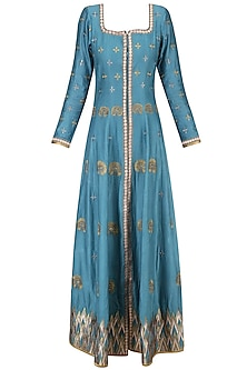 Blue and Gold Embroidered Anarkali Set