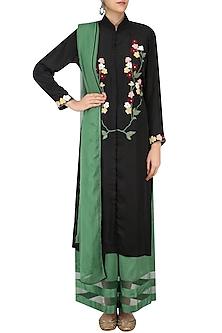Black Floral Embroidered Kurta and Braiding Palazzo Pants Set by Ruhmahsa