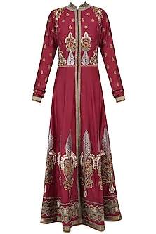 Red and Gold Floral Embroidered Anarkali Set by Ruhmahsa