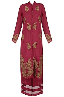 Red Leaf Embroidered Motifs Kurta and Braiding Palazzo Pants Set by Ruhmahsa