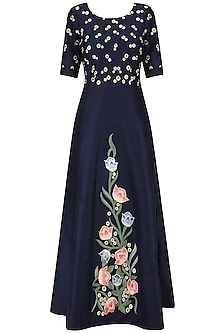 Navy Floral Embroidered Fit and Flared Gown