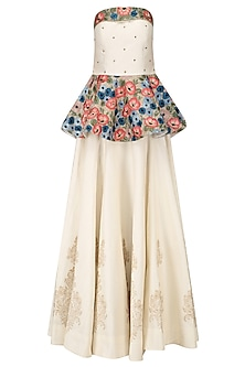 White Floral Embroidered Peplum Top with White Block Printed Skirt