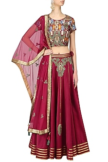 Red Floral Embroidered Lehenga Set by Ruhmahsa