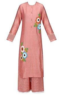 Peach Floral Embroidered Kurta and Palazzo Pants Set by Ruhmahsa