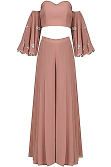 Blush Pink Off Shoulder Embroidered Crop Top and Palazzo Pants Set