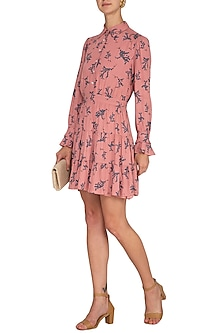 Peach Full Sleeves Mini Dress by Renge