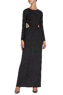 Black Maxi Dress WIth Belt by Renge