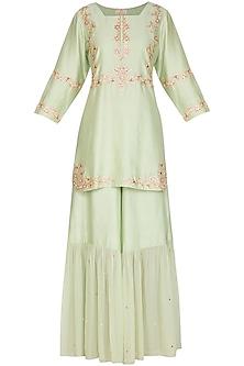 Mint Green Embellished Sharara Set by Ruchira Nangalia