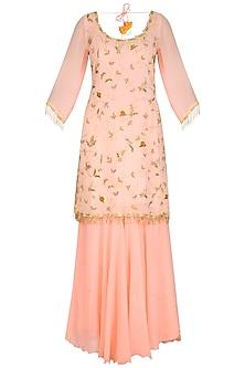 Peach Embroidered Sharara Set by Ruchira Nangalia