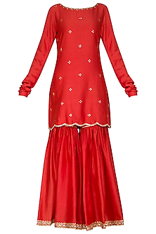 Red Embellished Sharara Set by Ruchira Nangalia